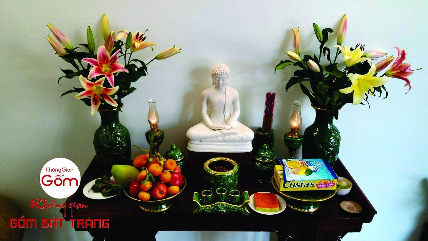 bộ đồ thờ Phật men lục bảo