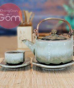 Bộ trà và đĩa lót Bát Tràng cao cấp