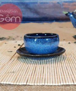 Bộ ấm trà quai rồng men xanh