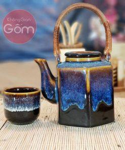 Bộ trà ấm lục giác men hỏa biến