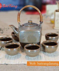 Bộ trà ấm vuông men nâu
