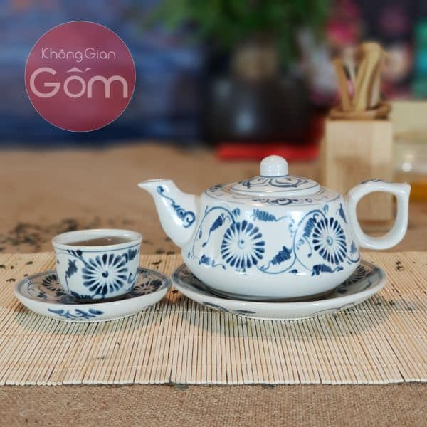 Bộ trà quả và cúc men rạn Bát Tràng