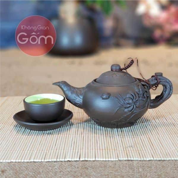 Bộ trà đắp tách lót sen Bát Tràng