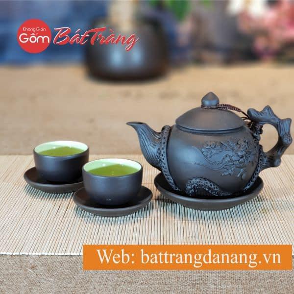 Bộ trà đắp tách lót sen