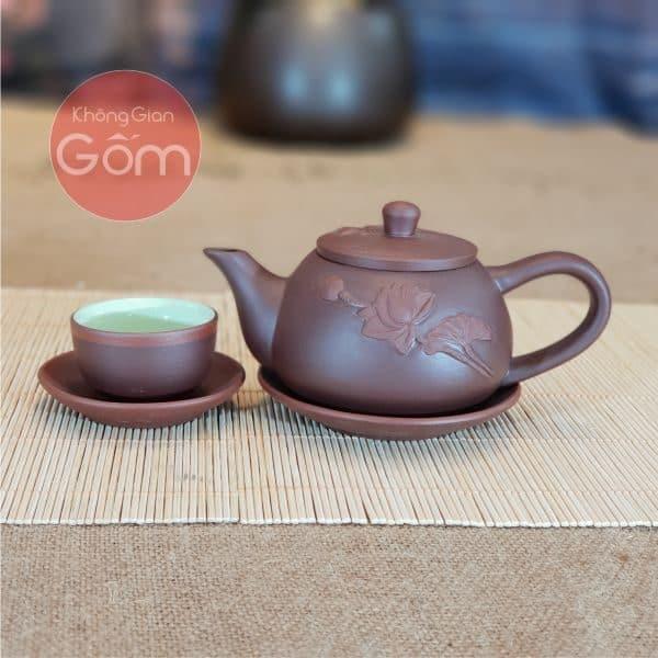 Bộ ấm trà Tử sa Liên hoa