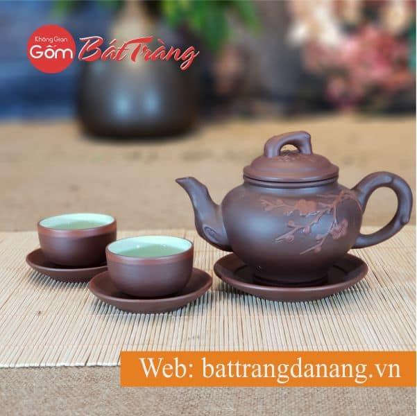 Bộ trà Tử hoa Báo xuân ca đẹp