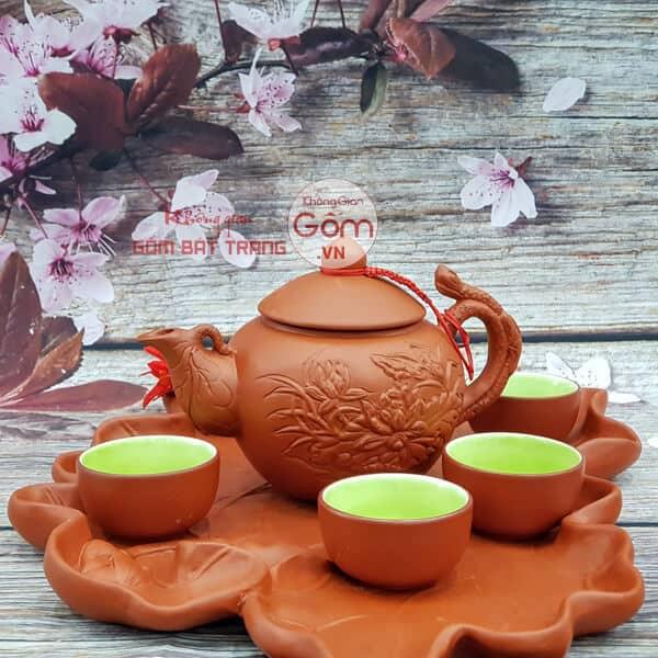 Bộ trà quai đắp khắc lá sen