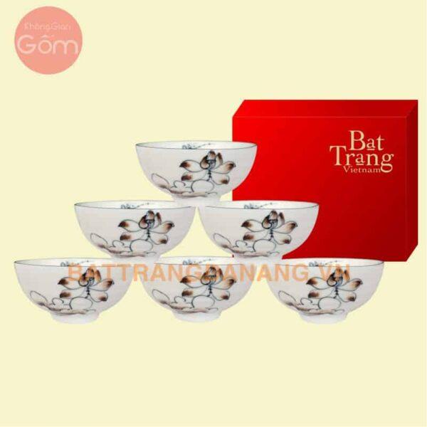 Bộ bàn ăn cao cấp gốm sứu Bát Tràng
