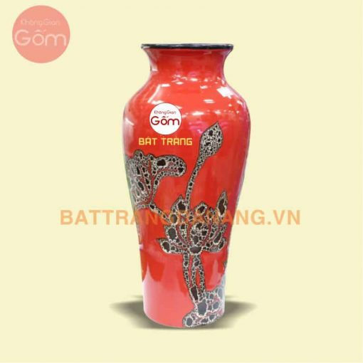 Bình hoa vẽ sen tinh xảo Bát Tràng KGG12