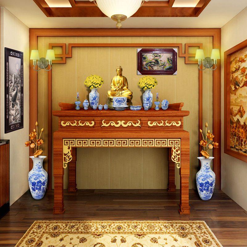Lọ hoa trang trí trên bàn thờ Phật