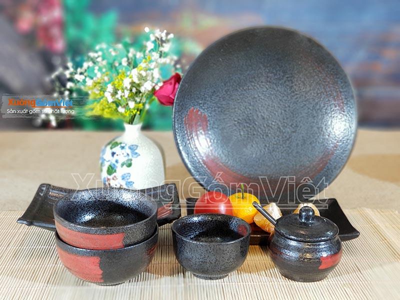 Bộ bát đĩa vẽ vòng tròn Zen