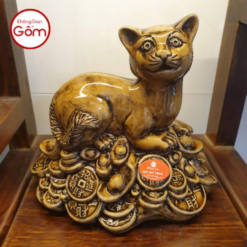 Tượng Mèo làm bằng sứ Bát Tràng chất lượng cao