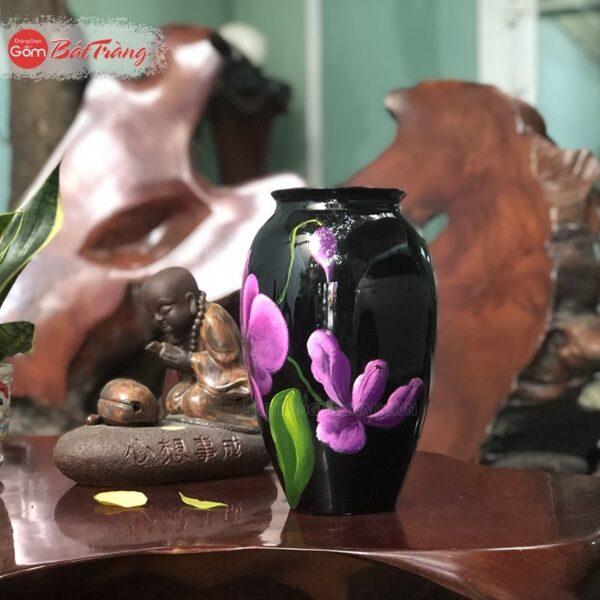 Vò cao S1 cắm hoa vẽ tay 3D
