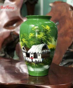 Vò xoài sứ có miệng vẽ 3D nền xanh