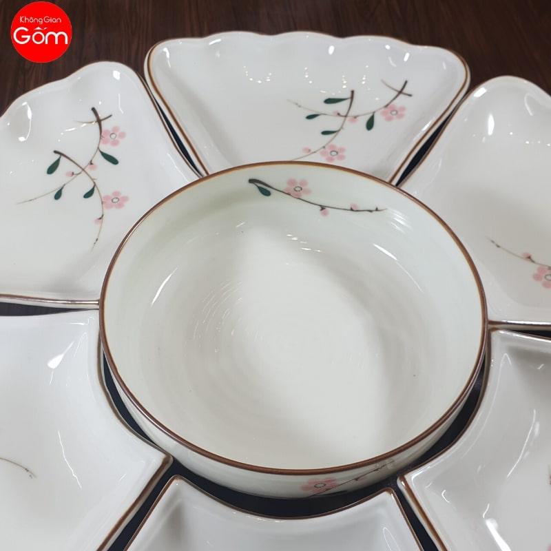 Bộ bát đĩa bàn ăn hoa mặt trời sứ Bát Tràng