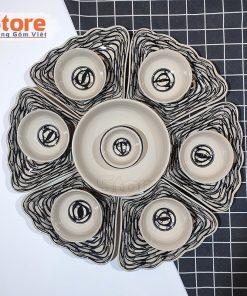 Bộ bát đĩa sứ 15 món vẽ cá đàn