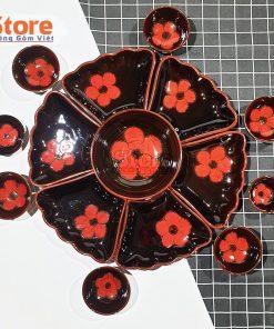 Bộ bát đĩa hoa mặt trời nâu tây