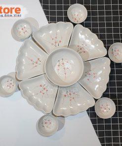 Set bát đĩa hoa mặt trời vẽ đào