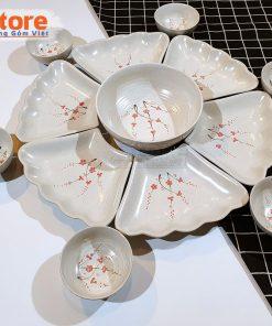 Set bát đĩa vẽ đào