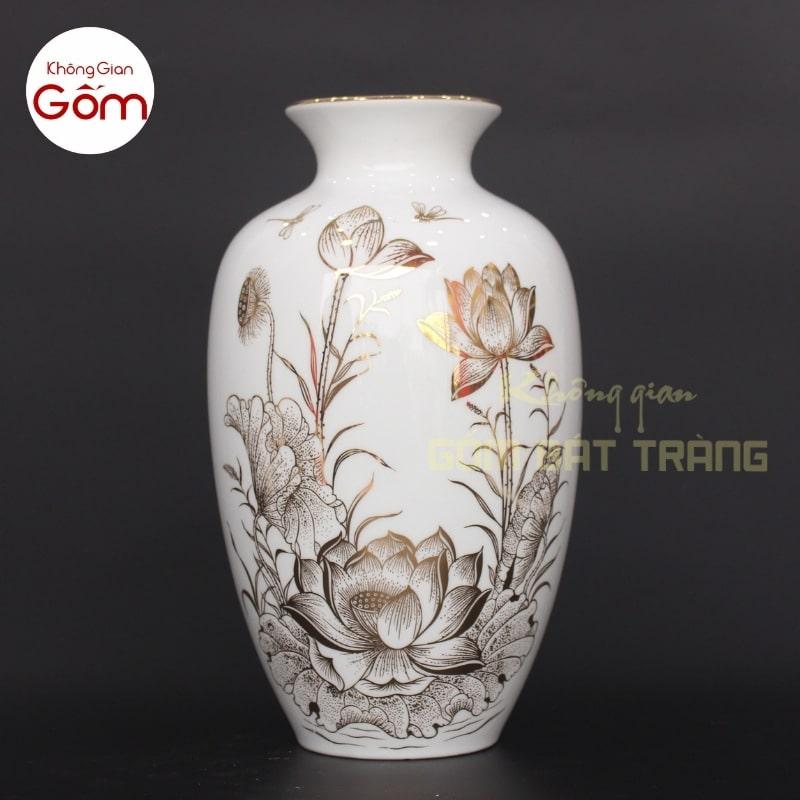 bình cắm hoa đẹp bằng sứ trắng
